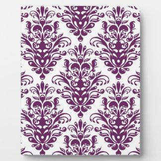 Hot Purple and White Elegant Damask Pattern Plaque