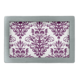 Hot Purple and White Elegant Damask Pattern Rectangular Belt Buckle