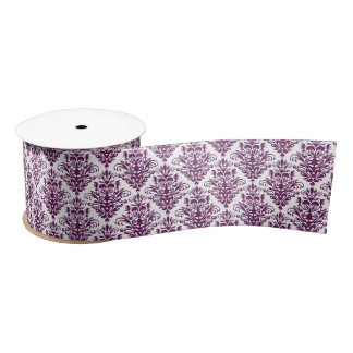 Hot Purple and White Elegant Damask Pattern Satin Ribbon
