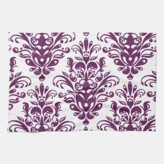 Hot Purple and White Elegant Damask Pattern Tea Towel