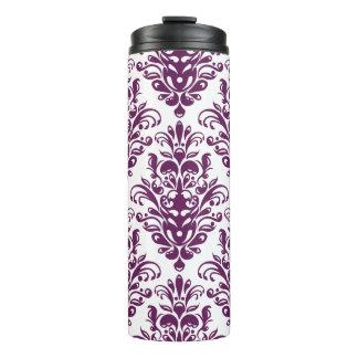Hot Purple and White Elegant Damask Pattern Thermal Tumbler