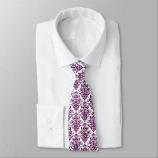 Hot Purple and White Elegant Damask Pattern Tie