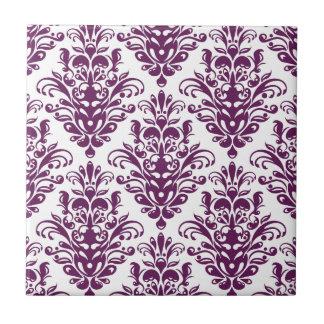 Hot Purple and White Elegant Damask Pattern Tile