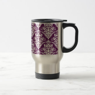 Hot Purple and White Elegant Damask Pattern Travel Mug