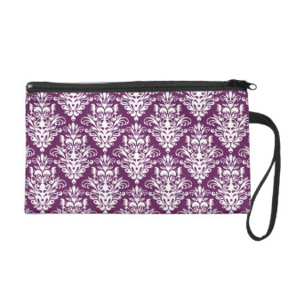 Hot Purple and White Elegant Damask Pattern Wristlet