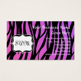 Hot Purple/Pink Zebra Stripes Monogram Business Card