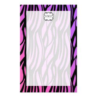 Hot Purple/Pink Zebra Stripes Monogram Customised Stationery