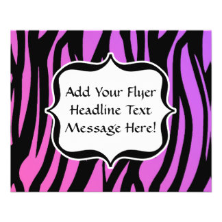 Hot Purple/Pink Zebra Stripes Monogram Flyers