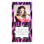 Hot Purple/Pink Zebra Stripes Monogram Personalised Photo Card