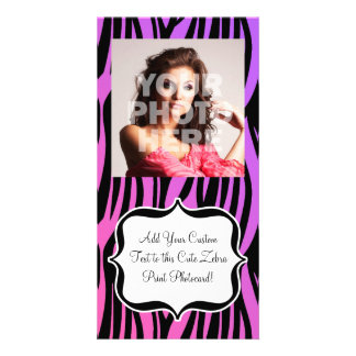 Hot Purple/Pink Zebra Stripes Monogram Personalised Photo Card