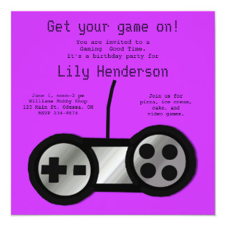 Hot Purple Video Gaming Party Invitation