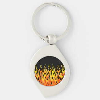 Hot Racing Flames Graphic Silver-Colored Swirl Key Ring