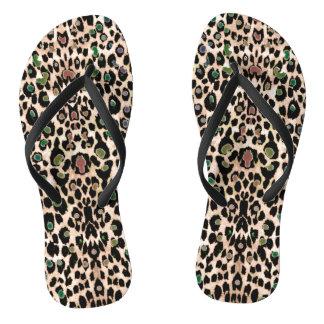 Hot Rainbow Glitter Leopard Print Flip Flops Thongs