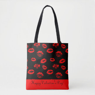 Hot red lips / kisses tote bag