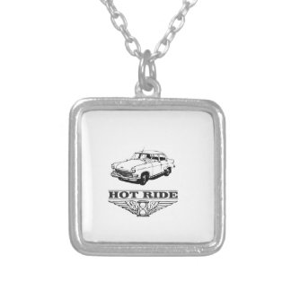 hot ride car silver plated necklace