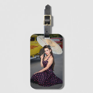 Hot Ride ZZ Rockabilly Hot Rod Vintage Pin Up Girl Luggage Tag