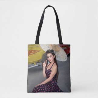 Hot Ride ZZ Rockabilly Hot Rod Vintage Pin Up Girl Tote Bag