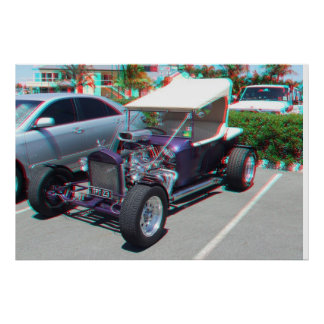 Hot Rod 3D Anaglyph Poster