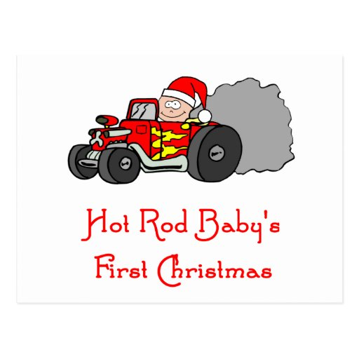 Hot Rod Baby's First Christmas Post Card