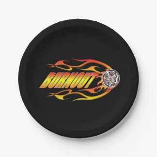 Hot rod burnout with flames paper plate