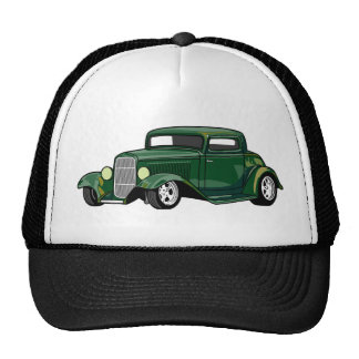 Hot Rod Coupe (Green) Trucker Hats