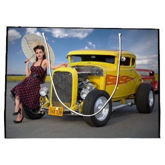 Hot Rod Coupe Pin Up Girl Beauty Large Gift Bag