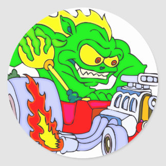Hot Rod Dragon Classic Round Sticker
