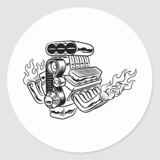 Hot Rod Engine Classic Round Sticker