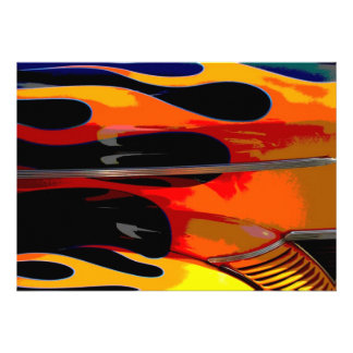 Hot Rod Flames Birthday Party Cards
