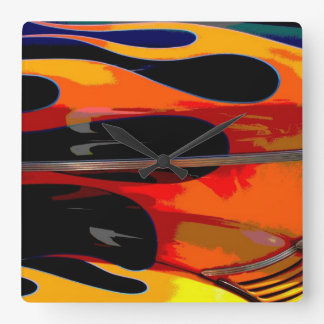 Hot Rod Flames Clock