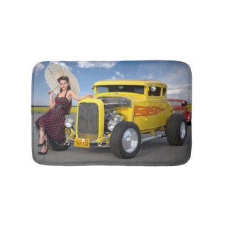 Hot Rod Flames Graffiti Vintage Car Pin Up Girl Bath Mat