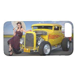 Hot Rod Flames Graffiti Vintage Car Pin Up Girl iPhone 8/7 Case