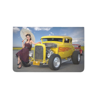 Hot Rod Flames Graffiti Vintage Car Pin Up Girl Journal