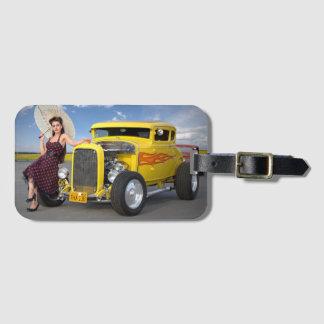 Hot Rod Flames Graffiti Vintage Car Pin Up Girl Luggage Tag