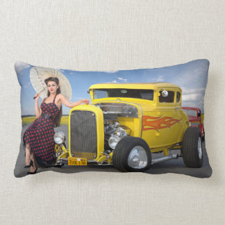 Hot Rod Flames Graffiti Vintage Car Pin Up Girl Lumbar Cushion