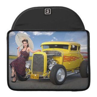 Hot Rod Flames Graffiti Vintage Car Pin Up Girl Sleeve For MacBook Pro