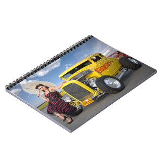 Hot Rod Flames Graffiti Vintage Car Pin Up Girl Spiral Notebook