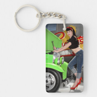Hot Rod Garage Mechanic Shop Pin Up Car Girl Key Ring
