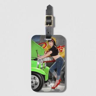 Hot Rod Garage Mechanic Shop Pin Up Car Girl Luggage Tag