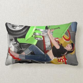 Hot Rod Garage Mechanic Shop Pin Up Girl Lumbar Cushion