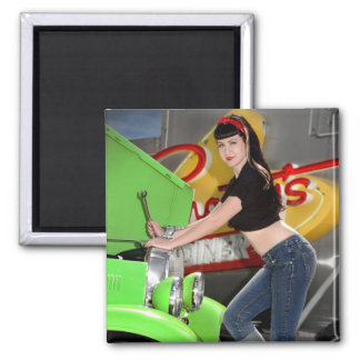 Hot Rod Garage Mechanic Shop Pin Up Girl Magnet