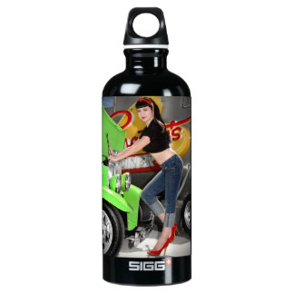 Hot Rod Garage Mechanic Shop Pin Up Girl Water Bottle