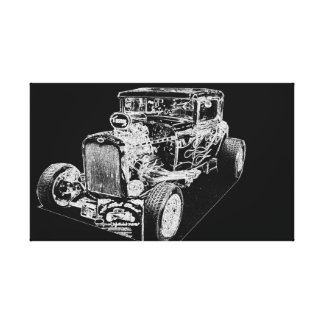 HOT ROD IN BLACK AND WHITE STRETCHED CANVAS PRINT