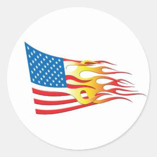 Hot Rod Nation Flag Round Sticker
