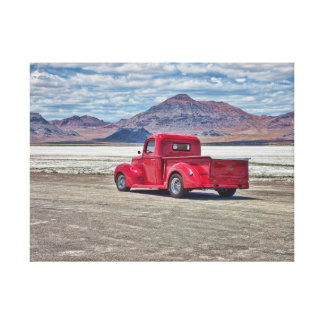 Hot rod pickup truck at the Bonneville Salt Flats Canvas Print