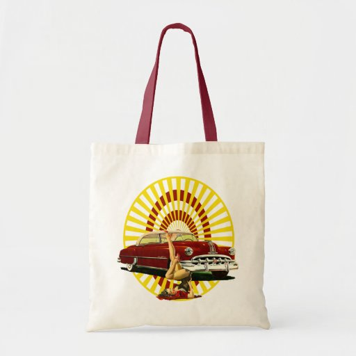 Hot Rod Pin Up Girl Tote Bags