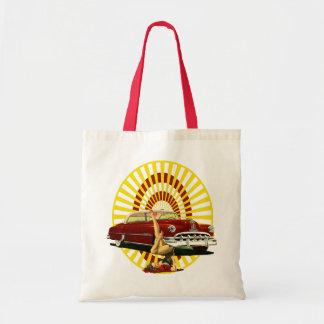 Hot Rod Pin Up Girl Budget Tote Bag