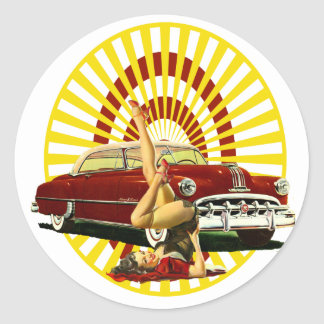 Hot Rod Pinup Girl Classic Round Sticker
