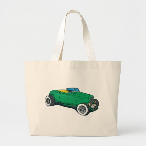 Hot Rod Roadster (Green) Tote Bags