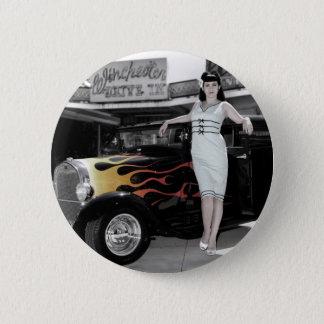 Hot Rod Sedan Flames Vintage Theater Pin Up Girl